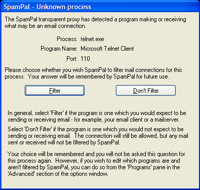 Unknown Process dialog